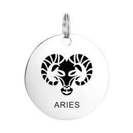 Wholesale Craft Keyrings - Stainless Steel Silver Zodiac ARIES Pendant Crafting Keyring Chain Charm Findings for Necklace Jewelry Birthday Gift