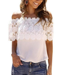 Wholesale tshirt chiffon woman - NEW women White Lace Chiffon Blouse Hook flowers Off Shoulder Shirt Ruffle Short Sleeve ladies Beach Boho Loose lace tshirt S-6XL