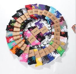 Wholesale Crew Socks Colors - 38 colors Hot High Crew Socks Skateboard hiphop socks Leaf Maple Leaves Stockings Cotton Unisex Plantlife yoga Socks
