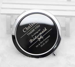 Wholesale Case Personalize - Personalized compact mirrors Custom Engraved Silver Metal Cosmetic makeup mirror case Wedding favors Gift #M070S FREE SHIPPING