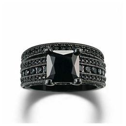 Wholesale Ladies Gold Diamond Ring - Retro fashion OL Ladies Gold Diamond Ring set wide square black nano high-end jewelry wholesale R629