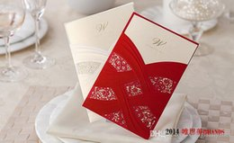 Wholesale Card Cut Out - 100pc Chic White or red Hollow Flower Cut-out Free Personalized & Customized Printing Wedding Invitations Cards High-grade paper CW060 marki