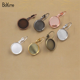 Wholesale 25mm Silver Tray - BoYuTe 50Pcs Silver Plated Round 8 10 12 14 16 18 20 25MM Cabochon Base Setting Clip Earring Blank Tray Diy Jewelry Findings