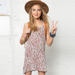 Wholesale Children S Floral Dresses - New Big Girls Dresses Floral Dress Bowknot Belt Sleeveless Suspender Dress Children 's Dresses Girl's Holiday Party Beach Dress A6388