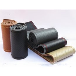 Wholesale Stitch Car Covers - DIY Hand-stitched Steering Wheel Cover with Needles Genuine Cowhide Car Braid Leather Auto Steering