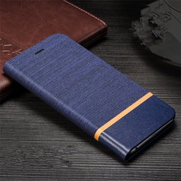 Wholesale Iphone Stylish Wallet Covers - Jeans Skin Stylish Leather Cellphone Case Stand Flip Cover Built-in Card Holder for huawei honor 7