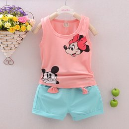 Wholesale Winter Short Patterns - Wholesale- Kids Girls Boys Sets Minnie Stars Pattern Clothing Sets Vest + Shorts 2 Pics Suits Summer Cool Baby Children Sleeveless Clothes