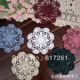 Wholesale Hook Pics - Wholesale- free shipping 2015 new 20 pic lot 12cm fabric felt lace doilies for kitchen accessories crochet hook table mats for wedding deco