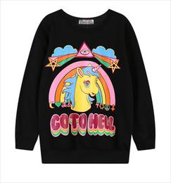 Оптовая продажа-Sudaderas mujer 2015 Harajuku зима 3D толстовка женщины толстовки пуловер с капюшоном Go To hell Unicorn печать O-образным вырезом повседневная Moletom от