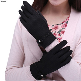 Wholesale Womens Leather Fingerless Gloves - Wholesale- Womens Screen Outdoor Sport Warm winter gloves women leather gloves winter gants femme tactical army paintball luvas de inverno