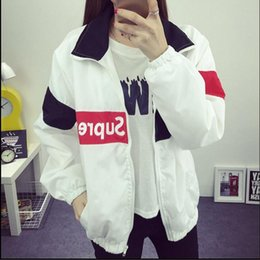 Wholesale Korea Fashion Style Coat Woman - Wholesale- Korea Harajuku style Spring thin coat female student Spring Korean wild long-sleeved long section bf College windbreaker tide