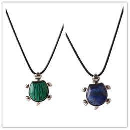 Wholesale Turtle Necklace Rhinestones - New malachite lapis lazuli turtle pendant necklace leather cord Natural Opalite Tiger eye charms Turtles Necklace sea life jewelry