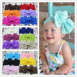 Wholesale Elastic Lace Headbands Wholesale - 22 colors Baby Big Bow Headbands Girls Stretch Lace Hair Band Infant Kids Headwrap Children Lovely Bowknot Elastic Hair Accessories KHA202