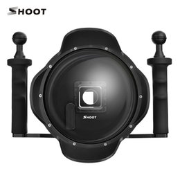 Wholesale Extra Lenses - SHOOT 3.5 vision 6 inch Diving for Sports Action Camera 4 Black Dome Port With Extra LCD Waterproof Housing Case