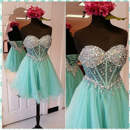 Wholesale Mint Short Homecoming Dress - 2017 Charming Mint Green Beaded Crystal Homecoming Dresses Sweetheart Tulle Short Mini Cocktail Dress Corset Back Prom Gowns
