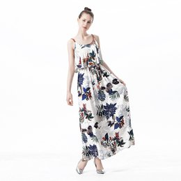 Wholesale Tropical Dresses For Summer - M-2xl Summer Tropical Dresses For Women sundress printing Floral Strap Shift Long Ladies Maxi Dress Sleeveless Fashion clothes