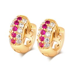 Wholesale rose gold crystal hoop earrings - 18K Yellow Gold Plated Clear Rose Red Multirow Crystal Paved Hoop Earrings Anti-Allergic Party Jewelry for Women Christmas Gift