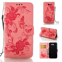 Wholesale Galaxy Pocket Strap - For Samsung Galaxy NOTE8 S8 PLUS J3 J5 A5 2017 IphoneX Huawei P8 Lite Flower Wallet Leather Pouch Case Butterfly Card Stand Strap Cover 1PCS