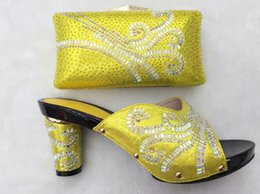 Wholesale Yellow Shoes Matching Bag - Africa Style Pumps Shoes And Matching Bags Set Fashion Summer Style Ladies High Heels Slipper And Bag Set For Party THS17-1402