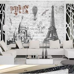 2019 fond d'écran nostalgique 3 D Style Européen Français Paris Street View Grand Mural Bar Restaurant Salon Chambre Espace Étendu Papier Peint Nostalgique Toile De Fond Mur fond d'écran nostalgique pas cher