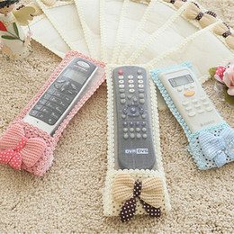 Wholesale Tv Remote Protective Cover - Wholesale- Lovely Bowknot Lace Remote Control Dustproof Organizer Storage Bag TV Air Condition Cover Textile Protective Bag 3 Size 3 Color