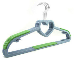 Wholesale Loves Plastic Hooks - Functional Dry Wet Clothes Hangers with Hooks Non-slip Thin Space Save Storage Racks Love Heart Plastic Hanger for Coat Suit Skirts Trousers