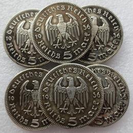 Wholesale germany coins - Germany 5 Reichsmark Hindenburg Eagle 1936 A D E F G J(6pcs)Sliver Copy Coin
