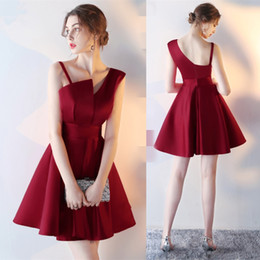 Wholesale Cocktail Dresses Red One Shoulder - 2017 New Simple Burgundy Strapless Cocktail Dresses Short Formal Party Dresses Black Mini Satin Prom Party Gowns