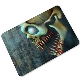 Wholesale Doormat Mat Carpet Door - Vintage 3D Blood Skull Floor Mats Skeleton Zombie Welcome Door Mats Kitchen Bathroom Hallway Area Carpet Doormats 45x70cm