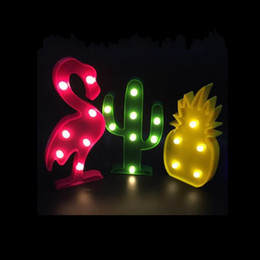 Wholesale night lights children - Cute Flamingo Led Night Light Marquee Sign Pineapple Cactus Wall Lamp For Kids Children Gift Party Home Room Decor