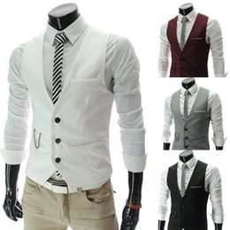 Wholesale Three Button Suit Sale - Wholesale- 2014 New Brand Men Suit Vest Slim Mens Casual Waistcoat Business Jacket Tops Three Buttons Hot Sales Free Shipping
