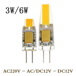 Wholesale G4 Led For 12v Ac - 1X Mini G4 Led Lamp Power 3W 6W NO Dimmable COB Light DC AC 12V 360 Beam Lighting For Chandelier Lights Replace Halogen G4 Lamps