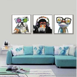 Wholesale Monkey Frame - 3 Panel Hand Painted Abstract Animal Art Oil Painting Dog Monkey Frog,Home Wall Decor On High Quality Canvas size can be customized
