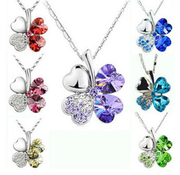 Wholesale Real Clover Necklace - 925 Silver Necklace Jewelry Real Austria Crystal Sweet Style Four Leaf Clover Pendant Necklace Jewelry For Women Wedding Gift 5 Colors 10pcs