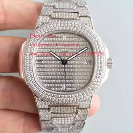 Wholesale Miyota Watches - Limited Edition DM Factory 40.5mm Full Diamond Bracelet Platinum Nautilus 5719 1G-001 MIYOTA 9015 CL.324SC Automatic Mens Watch Watches