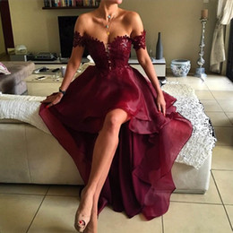 Wholesale Evening Dresses Red Wine - 2017 Burgundia Prom dresses Off the Shoulder Appliqued Lace Red Wine High Low Party Dress Graduation Backless Elegant Evening Gowns