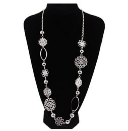 Wholesale Th Wholesale - Wholesale- New Fashion Hollow out flower brief all match sweater chain silver long necklace Jewelry TH-N486