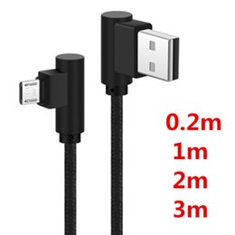 Wholesale Micro Usb Right Angle - 0.2M 1M 2M 3M Nylon 90 Degree Right Angle Micro USB or USB-C to Left Angle USB 2.0 Charger Sync Data Cable DH1700019