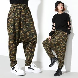Wholesale Baggy Trousers Woman - New Arrival Personality Camouflage Harem Pants Women Fashion Hip-hop Big Baggy Drop Crotch Pants Loose Dancer Trousers