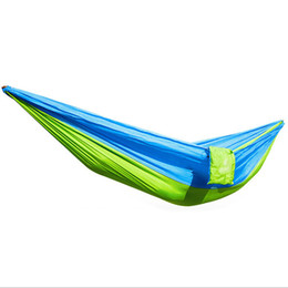 Wholesale Outdoor Hammock Swings - Wholesale- Large Size 270*130cm Parachute Nylon Fabric Garden Hammock Outdoor Travel Camping Swing For Two Persons Sleeping Hang Net Bed