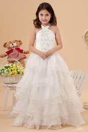Wholesale Halter Girls Pageant Dresses - Beautiful Flower Gageant Girl's Gowns Ruched Organza Halter-Neck Flower Girls' Dresses For Wedding or Pageant Ruched