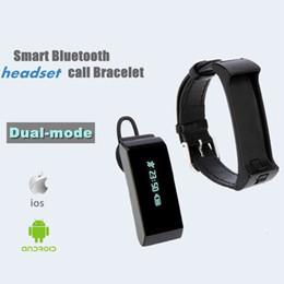 Wholesale Wrist Bluetooth Headset - K2 Smart Watch Bracelet Bluetooth 2 in 1 Stereo Headphone Headset Wristband Dual-mode Sleep Monitor Smartwatch With Box