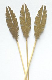 Wholesale Bridal Shower Cheap - cheap Glitter Gold Feather Cupcake Toppers Garden Party Decor. picks Birthday wedding bridal baby shower cake party decorations 30pcs
