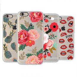 Wholesale Drawing Pattern Case - Flower Pattern Fruit Drawing Case Ultrathin TPU Soft Silicone Cover for iphone 7 6s 6 plus OPP BAG