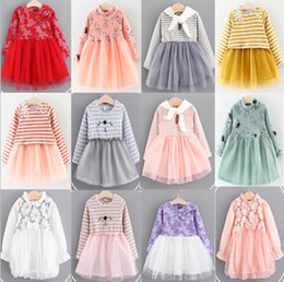 Wholesale Striped Kids Cotton Lace Dress - 6 styles 12 color Korean style new arrival Girl dress kids spring autumn Cartoon cat Cotton and gauze patchwork Pearl bow Dress casual dress