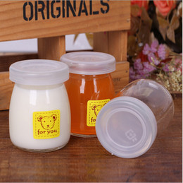 Wholesale Dessert Cups - 0 35rc 100ml Yogurt Milk Glass Bottle Transparent Thicker Pudding Cup Dessert Baking Mold With Covers High Temperature Resistant Lead Free
