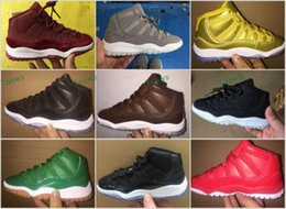 Wholesale Kids Snow Boots Size 11 - 2017 New Air Retro 11 Space Jam Kids Sport Basketball Shoes GS Heiress Suede Maroon Retro 11s Sneakers 72-10 Gold Gamma Blue Size 28-35