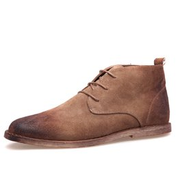 Wholesale mens winter dress shoes - Wholesale-New Nubuck Leather Oxford Lace Up Formal Dress Boot Fashion Mens Round Toe Chukka Winter Shoes