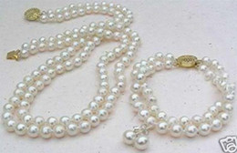Wholesale White Akoya Cultured Pearl Necklace - 2 Rows White 8mm Akoya Cultured Shell Pearl Necklace Bracelet Earring Set LL001