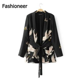 Wholesale Fashioneer Fashion Women Blazer Suit Waist Belt Red crowned Crane Print Blazers and Jackets Ladies Office Wear Spring Autumn Outerwear